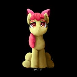 Size: 2000x2000 | Tagged: safe, artist:raphaeldavid, apple bloom, earth pony, pony, alone, atg 2021, black background, newbie artist training grounds, simple background, solo