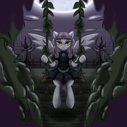 Size: 2000x2000 | Tagged: safe, artist:darksly, inky rose, pegasus, pony, atg 2021, braid, clothes, darkness, dress, goth, leaf, looking at you, newbie artist training grounds, swing