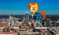 Size: 2048x1202 | Tagged: safe, artist:sirmlp1, sunburst, pony, giant pony, highrise ponies, indiana, indianapolis, irl, macro, photo