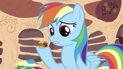Size: 993x558 | Tagged: safe, artist:heyitshayburgers, edit, edited screencap, screencap, rainbow dash, pegasus, burger, cheeseburger, episode needed, food, hamburger, solo