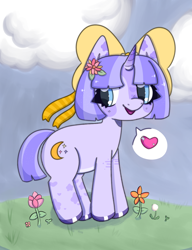 Size: 1000x1300 | Tagged: safe, artist:rabidmomento, oc, oc:moonlight meadow, pony, unicorn, bow, cloud, flower, flower in hair, full body, grass, happy, heart, scenery, shading, sky, smiling, solo, standing