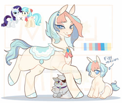 Size: 1024x868   Tagged: safe, artist:alroura, coco pommel, opalescence, rarity, oc, earth pony, pony, unicorn, baby, baby pony, deviantart watermark, eyepatch, female, filly, magical lesbian spawn, mare, obtrusive watermark, offspring, older, parent:coco pommel, parent:rarity, parents:marshmallow coco, saddle, solo, tack, tongue out, watermark