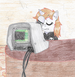 Size: 1672x1707   Tagged: safe, artist:toshimatsu, oc, oc only, oc:littlepip, pony, unicorn, fallout equestria, cables, facehoof, fanfic, fanfic art, horn, pipbuck, terminal, traditional art