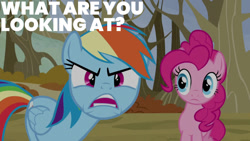 Size: 1280x720   Tagged: safe, edit, edited screencap, editor:quoterific, screencap, pinkie pie, rainbow dash, earth pony, pegasus, pony, season 5, tanks for the memories, angry, female, mare, open mouth, ragebow dash