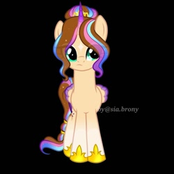 Size: 925x925 | Tagged: safe, artist:sia.brony, oc, oc only, oc:sia, alicorn, pony, alicorn oc, black background, eye clipping through hair, eyelashes, female, frown, hoof shoes, horn, mare, signature, simple background, solo, wings