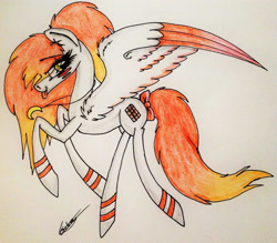 Size: 1917x1683   Tagged: safe, artist:beamybutt, oc, oc only, pegasus, pony, bow, eyelashes, female, jewelry, mare, necklace, pegasus oc, signature, solo, tail bow, traditional art, two toned wings, wings