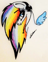 Size: 1239x1589 | Tagged: safe, artist:beamybutt, oc, oc only, pegasus, pony, bust, eyelashes, female, headphones, jewelry, mare, multicolored hair, necklace, pegasus oc, rainbow hair, signature, smiling, solo, traditional art, wings