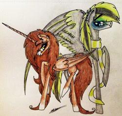 Size: 1752x1655 | Tagged: safe, artist:beamybutt, oc, oc only, alicorn, pegasus, pony, alicorn oc, clothes, duo, ear piercing, eyelashes, female, horn, male, mare, pegasus oc, piercing, raised hoof, scarf, signature, stallion, traditional art, wings