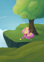 Size: 988x1394   Tagged: safe, artist:dusthiel, fluttershy, pegasus, pony, atg 2021, chest fluff, cliff, eyes closed, female, floppy ears, flower, folded wings, grass, lying down, mare, newbie artist training grounds, outdoors, profile, prone, sky, smiling, solo, tree, under the tree, wings