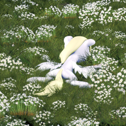 Size: 1992x1992   Tagged: safe, derpy hooves, pegasus, 3d, album cover, album parody, derpy being derpy, field, flower, grass, lying down, nurture, parody, porter robinson, solo, source filmmaker
