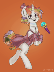 Size: 1126x1502   Tagged: safe, artist:derrorro, oc, oc only, unicorn, commission, frock coat, hat, microphone, multicolored hair, rainbow hair, solo, top hat