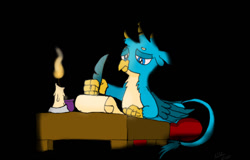 Size: 1280x820   Tagged: safe, artist:addelum, gallus, writing desk, griffon, atg 2021, candle, candlelight, candlestick, dark room, newbie artist training grounds, quill, scroll, solo, writing