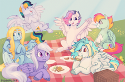 Size: 1045x689 | Tagged: safe, artist:pigeorgien, oc, oc only, oc:airy sweetness, oc:cloud beam, oc:dazzleflash, oc:minty drop, oc:puzzle breaker, oc:sunny funny, pegasus, pony, commission, eating, female, flower field, flying, food, friends, group, herbivore, laughing, lying down, mare, open mouth, picnic, pizza, plates, prone, sandwich, sitting, smiling, spread wings, wings