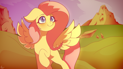 Size: 1600x900 | Tagged: safe, artist:alexsc112, fluttershy, pegasus, pony, missing cutie mark, outdoors, smiling, solo, spread wings, wings
