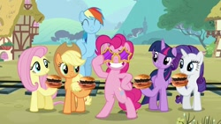 Size: 1200x675 | Tagged: safe, artist:heyitshayburgers, edit, edited screencap, screencap, applejack, fluttershy, pinkie pie, rainbow dash, rarity, twilight sparkle, pony, party pooped, mane six, spam oreo burger