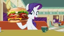 Size: 1280x720 | Tagged: safe, artist:heyitshayburgers, edit, edited screencap, screencap, rarity, pony, unicorn, the saddle row review, burger, cheeseburger, food, hamburger