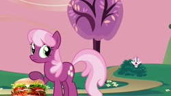 Size: 1280x720 | Tagged: safe, artist:heyitshayburgers, edit, edited screencap, screencap, cheerilee, sweetie belle, hearts and hooves day (episode), burger, cheeseburger, food, hamburger, hearts and hooves day