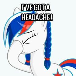 Size: 575x576 | Tagged: safe, oc, oc:marussia, headache, nation ponies, russia, solo