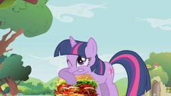 Size: 1280x720 | Tagged: safe, artist:heyitshayburgers, edit, edited screencap, screencap, twilight sparkle, unicorn, burger, cheeseburger, episode needed, food, hamburger, lip bite, one eye closed, palindrome get, solo, unicorn twilight