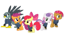 Size: 5360x3008 | Tagged: safe, artist:concordisparate, artist:dashiesparkle, artist:luckreza8, artist:ponygamer2020, artist:sonofaskywalker, apple bloom, babs seed, gabby, scootaloo, sweetie belle, earth pony, griffon, pegasus, pony, unicorn, fallout equestria, one bad apple, the fault in our cutie marks, absurd resolution, adorababs, adorabloom, apple bloom's bow, bow, clothes, cute, cutealoo, cutie mark, cutie mark crusaders, diasweetes, fallout, female, filly, gabbybetes, group, hair bow, happy, jumpsuit, pipboy, simple background, smiling, the cmc's cutie marks, transparent background, vault suit, vector
