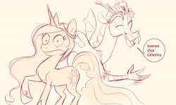 Size: 4096x2436 | Tagged: safe, artist:imalou, princess celestia, alicorn, draconequus, pony, dialogue, eyes closed, female, frown, high res, male, mare, meme, monochrome, open mouth, open smile, parody, ponified meme, sketch, slap, smiling, surprised, talking, wide eyes, wingless