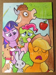 Size: 749x999 | Tagged: safe, artist:shuffle001, applejack, pinkie pie, rainbow dash, twilight sparkle, winona, cow, dog, earth pony, pegasus, pony, rabbit, unicorn, worm, applebuck season, animal, apple, applejack's hat, baked bads, collar, cowboy hat, exhausted, eyes closed, falling, flying, food, green face, hat, muffin, rainbow, shocked, shocked expression, sick, trading card, tree, twilight is not amused, unamused, unicorn twilight, yawn