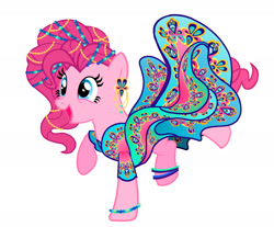 Size: 2373x1968 | Tagged: safe, artist:mylittlepastafarian, pinkie pie, earth pony, pony, alternate hairstyle, anklet, bracelet, clothes, dress, ear piercing, earring, female, jewelry, mare, open mouth, piercing, raised hoof, raised leg, simple background, solo, white background