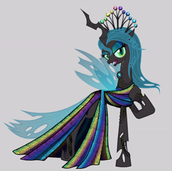Size: 3424x3404 | Tagged: safe, artist:mylittlepastafarian, queen chrysalis, changeling, alternate hairstyle, bracelet, clothes, crown, dress, eyeshadow, female, gray background, jewelry, makeup, open mouth, raised hoof, regalia, simple background, solo