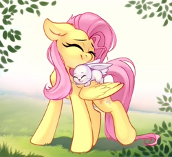 Size: 2768x2532   Tagged: safe, artist:taneysha, angel bunny, fluttershy, pegasus, pony, rabbit, angelbetes, animal, cute, daaaaaaaaaaaw, duo, eyes closed, female, floppy ears, fluttermom, grass, grass field, head turned, high res, leaves, male, mare, nuzzling, one wing out, outdoors, shyabetes, sitting on wing, smiling, standing, stray strand, wings