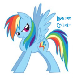 Size: 720x764 | Tagged: safe, artist:lauren faust, rainbow dash, pegasus, pony, 2009, cropped, needs more jpeg, old cutie mark, show bible, simple background, smiling, solo, white background, wings