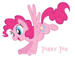 Size: 693x542 | Tagged: safe, artist:lauren faust, pinkie pie, pegasus, pony, 2009, cropped, flying, needs more jpeg, pegasus pinkie pie, race swap, show bible, smiling, solo, wings