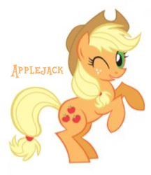 Size: 720x834 | Tagged: safe, artist:lauren faust, applejack, earth pony, pony, 2009, applejack's hat, cowboy hat, cropped, hat, needs more jpeg, one eye closed, rearing, show bible, solo, wink