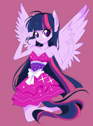 Size: 2256x3032 | Tagged: safe, artist:sonatadusklover, twilight sparkle, equestria girls, equestria girls (movie), armpits, bare shoulders, breasts, busty twilight sparkle, cleavage, cute, fall formal outfits, ponied up, simple background, sleeveless, solo, spread wings, strapless, twiabetes, wings