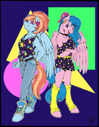 Size: 3029x3885 | Tagged: safe, artist:stormblaze-pegasus, firefly, windy whistles, pegasus, anthro, unguligrade anthro, 80's fashion, abstract background, clothes, commission, crossed arms, dress, duo, duo female, ear piercing, earring, eye clipping through hair, female, grin, hand on hip, high res, jeans, jewelry, leggings, looking at you, necklace, one eye closed, pants, piercing, shoes, siblings, sisters, smiling, smiling at you, sneakers, tanktop, wink, winking at you, younger
