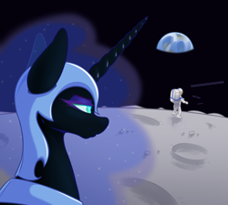 Size: 2000x1800 | Tagged: safe, artist:aquaticvibes, nightmare moon, alicorn, human, pony, aeiou, astronaut, atg 2021, earth, female, luna and the nauts, mare, moon, moonbase alpha, newbie artist training grounds, on the moon, planet, space, unamused