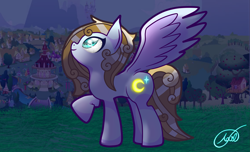 Size: 3811x2321 | Tagged: safe, artist:zailartx, oc, oc only, pegasus, pony, female, high res, looking up, mare, one hoof raised, pegasus oc, ponyville, raised hoof, smiling, solo, sparkly eyes, wingding eyes