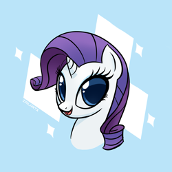 Size: 2433x2433 | Tagged: safe, artist:zailartx, rarity, pony, unicorn, blue background, bust, female, mare, simple background, smiling, solo