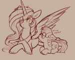Size: 2469x1984 | Tagged: safe, artist:yoditax, princess celestia, twilight sparkle, alicorn, pony, unicorn, cute, daaaaaaaaaaaw, descriptive noise, duo, duo female, eye clipping through hair, female, filly, filly twilight sparkle, high res, lying down, mare, monochrome, prone, sniffing, spread wings, twiabetes, unicorn twilight, wings, younger