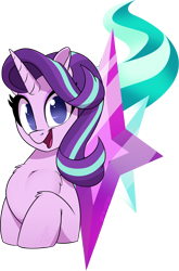 Size: 1852x2811 | Tagged: safe, artist:light262, starlight glimmer, pony, unicorn, bust, chest fluff, cute, cutie mark, cutie mark background, female, glimmerbetes, leg fluff, looking at you, mare, no pupils, open mouth, solo