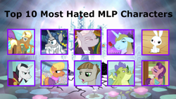 Size: 1024x576 | Tagged: safe, artist:purplewonderpower, hated characters, meme, op has an opinion, top 10