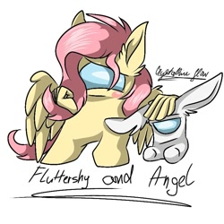 Size: 768x768 | Tagged: safe, artist:crystallineglow15, angel bunny, fluttershy, among us, duo, simple background, white background