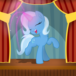 Size: 4000x4000 | Tagged: safe, artist:pizzamovies, trixie, pony, unicorn, absurd resolution, chest fluff, curtains, cute, cutie mark, diatrixes, eyes closed, female, glowing horn, happy, horn, magic, mare, open mouth, open smile, smiling, solo, sparkles, stage