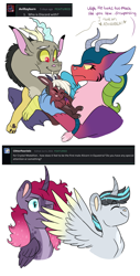 Size: 1328x2622 | Tagged: safe, artist:moccabliss, cosmos (character), discord, oc, oc:aztec, oc:crystal medallion, oc:moonstone apogee, alicorn, draconequus, pony, ask, baby, coscord, cousins, draconequus oc, ethereal mane, family, female, magical threesome spawn, male, mare, offspring, parent:cosmos, parent:discord, parent:flash sentry, parent:king sombra, parent:princess celestia, parent:princess luna, parent:tempest shadow, parents:celestibra, parents:coscord, shipping, simple background, spread wings, stallion, starry mane, straight, white background, wings