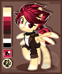 Size: 1876x2222 | Tagged: safe, artist:petruse4ka, oc, oc only, pegasus, pony, clothes, coat markings, collar, colored hooves, cyrillic, ear piercing, facial markings, pale belly, pegasus oc, piercing, raised hoof, reference sheet, russian, smiling, snip (coat marking), solo, two toned wings, watermark, wings