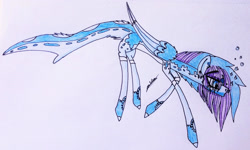 Size: 1810x1086 | Tagged: safe, artist:beamybutt, oc, oc only, pegasus, pony, colored hooves, pegasus oc, signature, solo, traditional art, two toned wings, underwater, wings