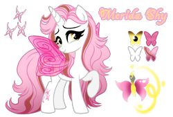 Size: 1596x1080 | Tagged: safe, artist:jvartes6112, oc, oc only, alicorn, butterfly, pony, alicorn oc, butterfly wings, eyelashes, female, horn, mare, parent:fluttershy, parents:canon x oc, raised hoof, reference sheet, simple background, smiling, solo, transparent background, wings