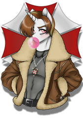 Size: 1080x1596 | Tagged: safe, artist:jvartes6112, oc, oc:jv6112, unicorn, anthro, 2020, bubblegum, bust, clothes, food, gum, horn, jewelry, leon s. kennedy, male, necklace, ponified, resident evil, simple background, solo, transparent background