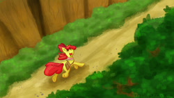 Size: 1280x721 | Tagged: safe, artist:kirbyliscious, apple bloom, earth pony, pony, atg 2021, female, filly, forest, newbie artist training grounds, running, solo
