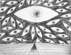 Size: 1280x985 | Tagged: safe, artist:kopaleo, oc, oc:cosmia nebula, abstract, alone, eye, nihilism, sad, sitting, solo
