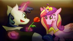 Size: 1280x720 | Tagged: safe, artist:kirbyliscious, princess cadance, shining armor, alicorn, pony, unicorn, atg 2021, female, flower, glowing horn, horn, male, newbie artist training grounds, rose
